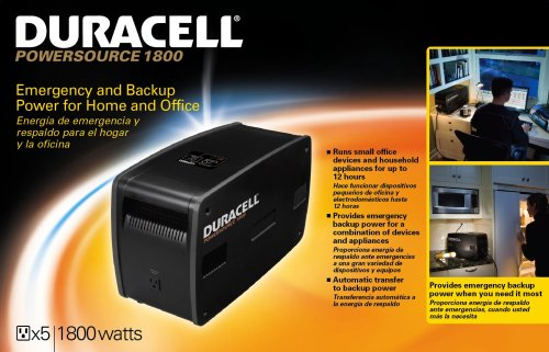 Solar Generator - Duracell Power Source 1800 - outputs