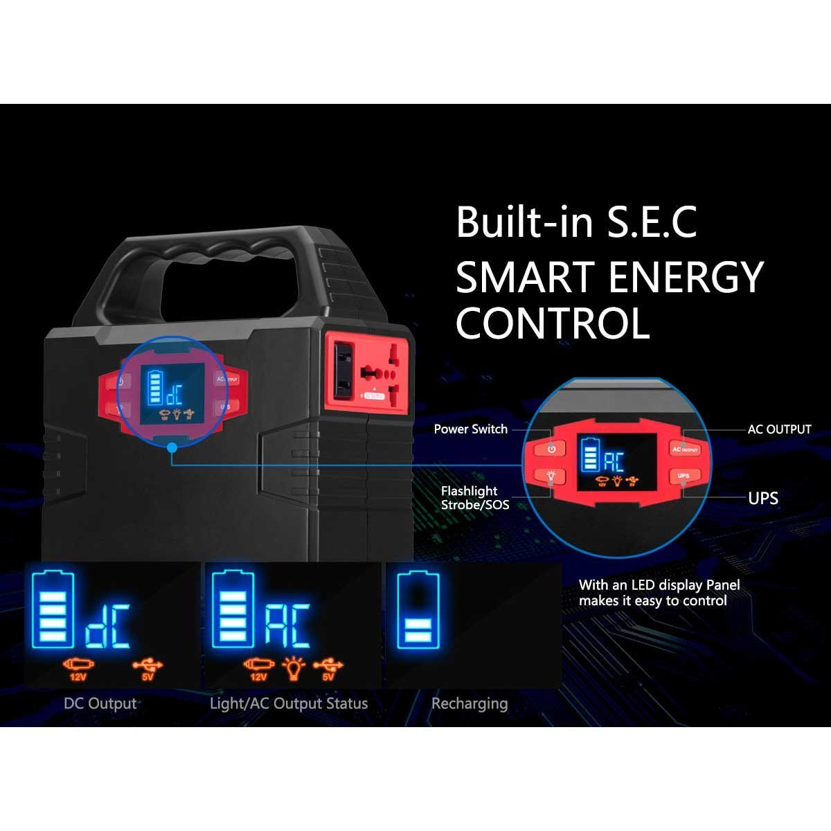 Solar Generator - Paxcess 100W Portable Solar Generator - outputs