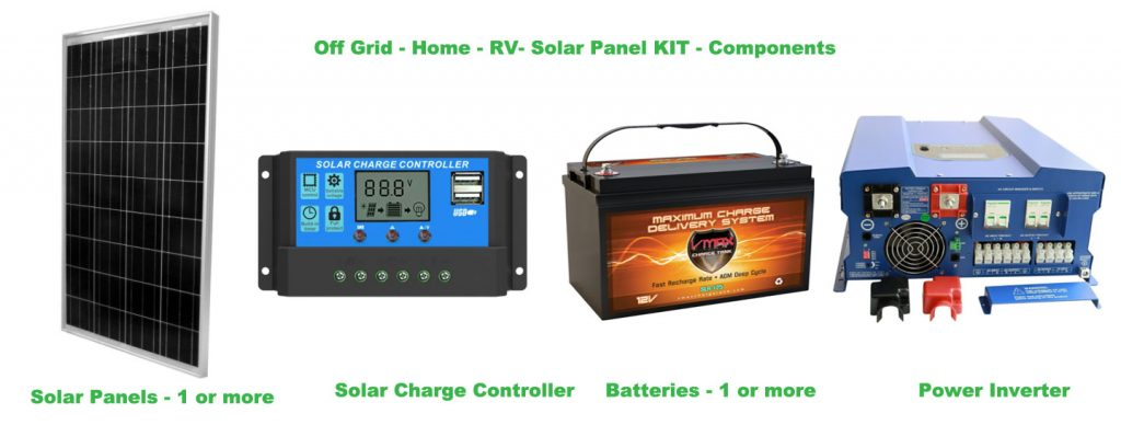 Off Grid Home RV Solar Panel Kit Components