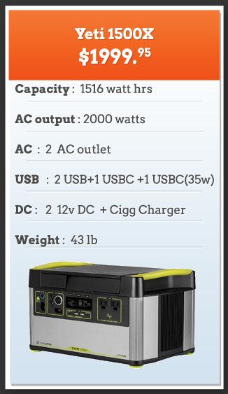 Yeti 1500x Heavy Duty Solar Powered Generator